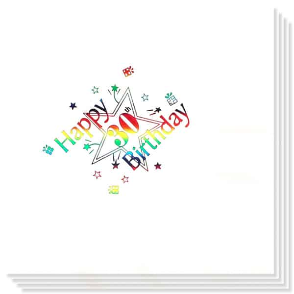 30th Birthday multi Coloured Foil Print 3 Ply Napkins - 13 Inches / 33cm - Pack of 15 Product Image