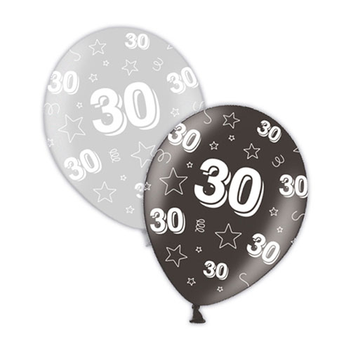 30th Birthday Silver and Black Latex Balloons 28cm / 11 in - Pack of 25 Product Image
