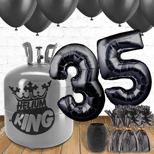 35th Birthday Helium Gas Package with Black Balloons Product Image