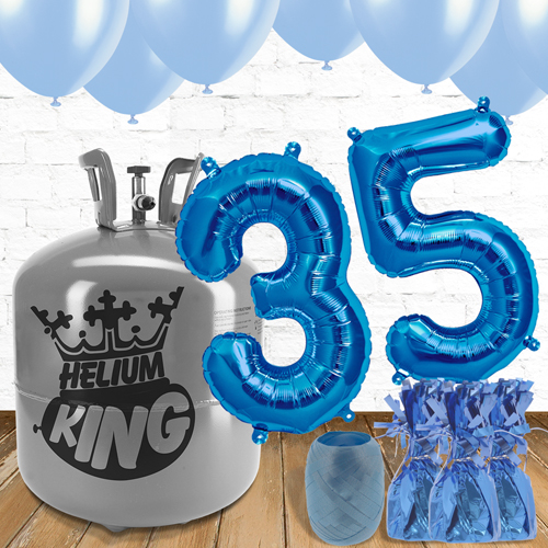35th Birthday Helium Gas Package with Blue Balloons Product Image