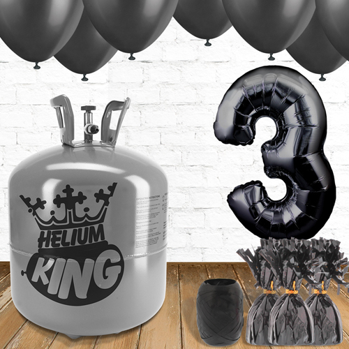 3rd Birthday Helium Gas Package with Black Balloons Product Image