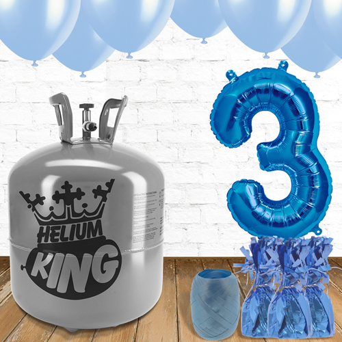 3rd Birthday Helium Gas Package with Blue Balloons Product Image