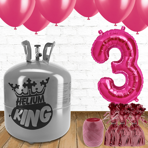 3rd Birthday Helium Gas Package with Pink Balloons