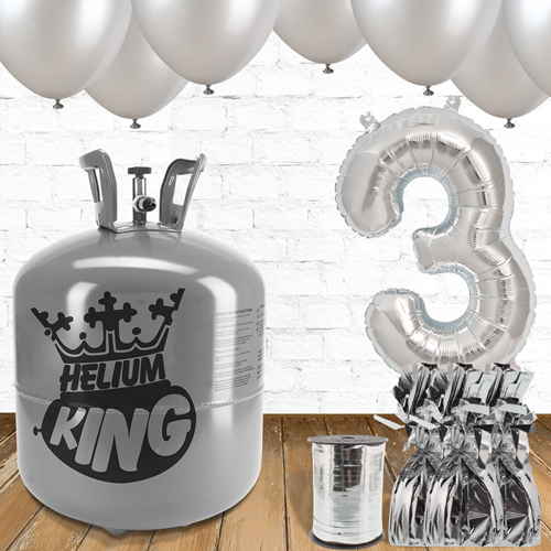 3rd Birthday Helium Gas Package with Silver Balloons Product Image