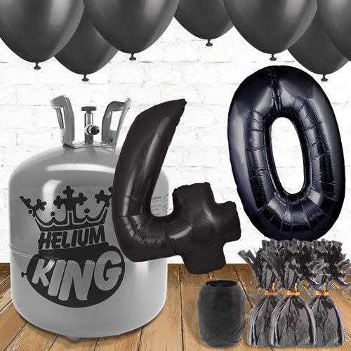40th Birthday Helium Gas Package with Black Balloons Product Image