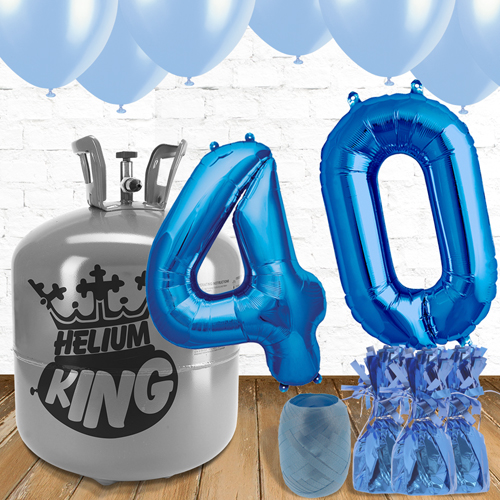 40th Birthday Helium Gas Package with Blue Balloons Product Image