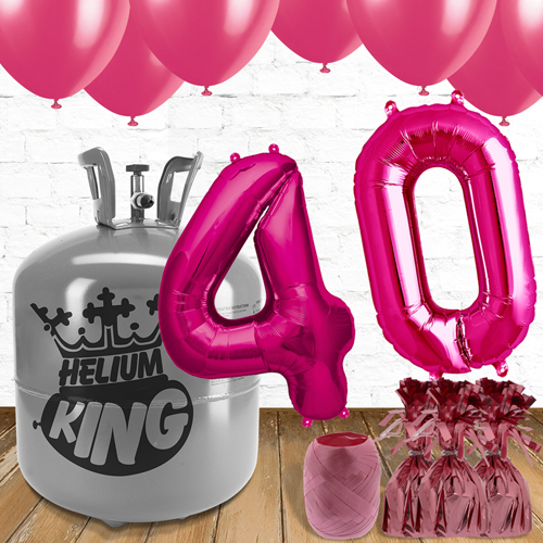 40th Birthday Helium Gas Package with Pink Balloons Product Image