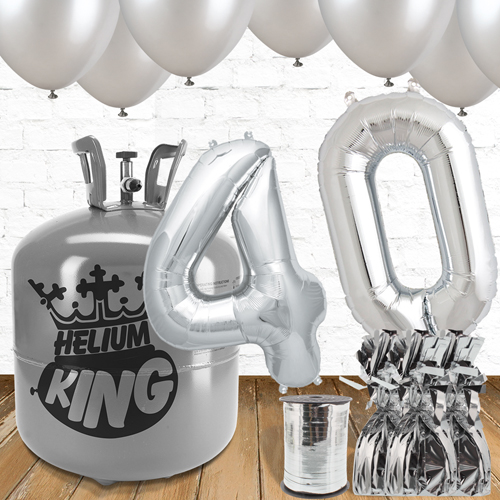 40th Birthday Helium Gas Package with Silver Balloons Product Image