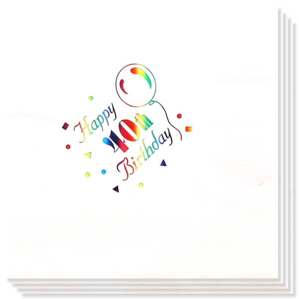 40th Birthday multi Coloured Foil Print 3 Ply Napkins - 13 Inches / 33cm - Pack of 15