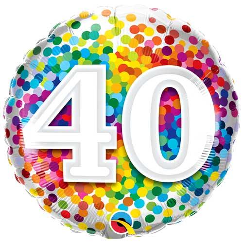 40th Birthday Rainbow Confetti Round Foil Helium Qualatex Balloon 46cm / 18 in