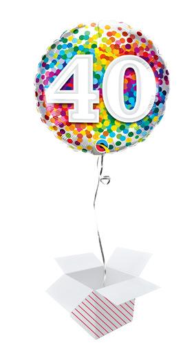 40th Birthday Rainbow Confetti Round Foil Helium Qualatex Balloon - Inflated Balloon in a Box