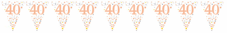 40th Birthday Rose Gold Holographic Foil Flag Bunting 3.9m