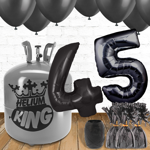 45th Birthday Helium Gas Package with Black Balloons Product Image