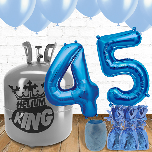 45th Birthday Helium Gas Package with Blue Balloons Product Image