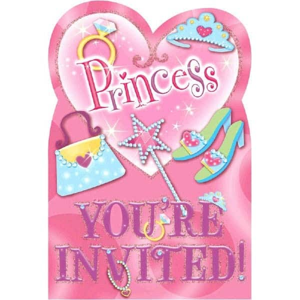 Prismatic Princess Invitations with Envelopes - Pack of 8