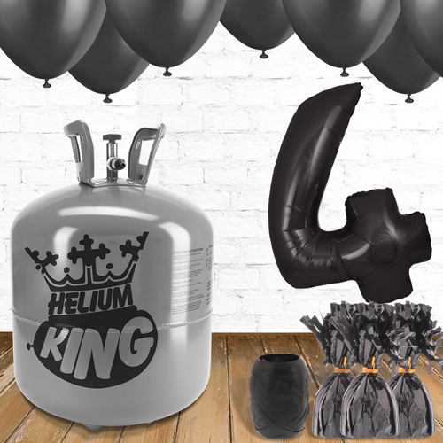 4th Birthday Helium Gas Package with Black Balloons Product Image