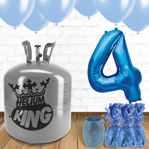 4th Birthday Helium Gas Package with Blue Balloons Product Image