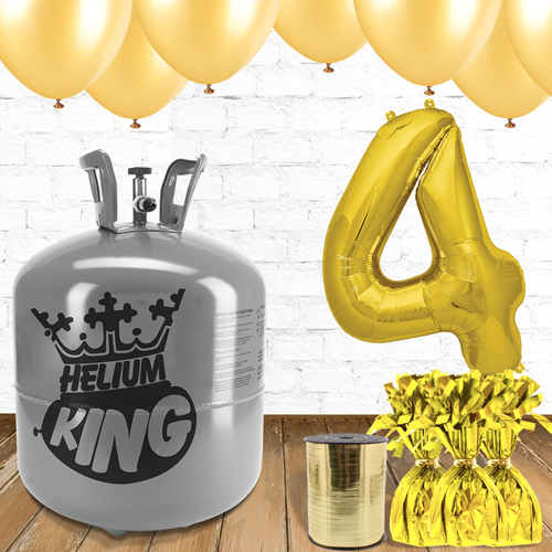 4th Birthday Helium Gas Package with Gold Balloons Product Image