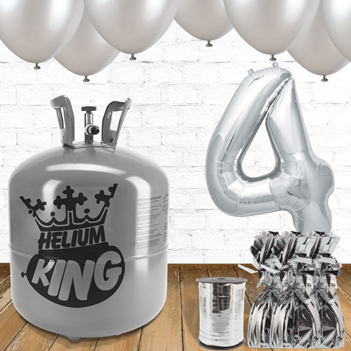 4th Birthday Helium Gas Package with Silver Balloons Product Image