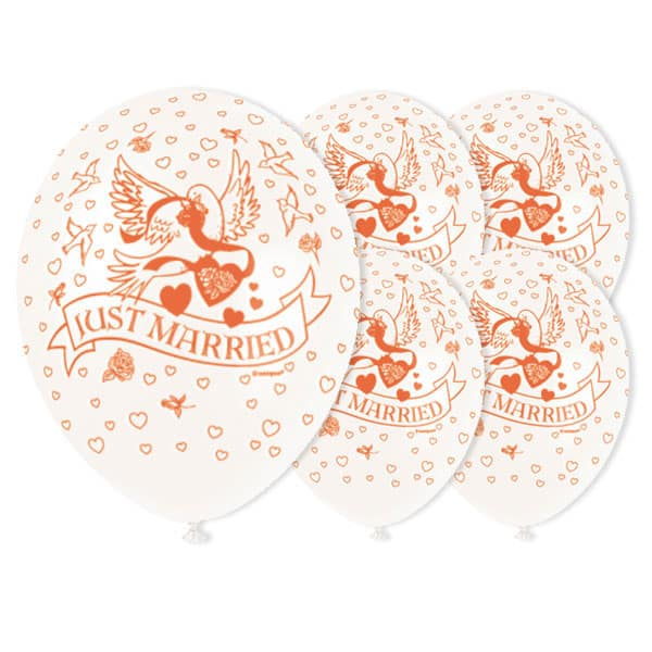Just Married in White Biodegradable Latex Balloons - 12 Inches / 30cm - Pack of 5 Product Image