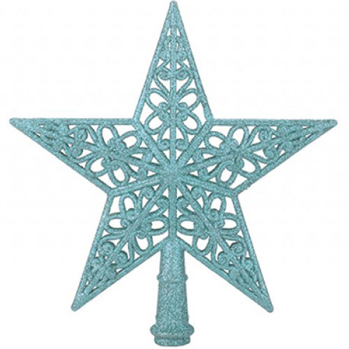 5 Tip Glittered Ice Blue Christmas Tree Top Star 20cm Product Image