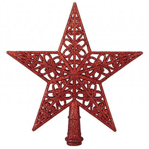 5 Tip Glittered Red Christmas Tree Top Star 20cm Product Image