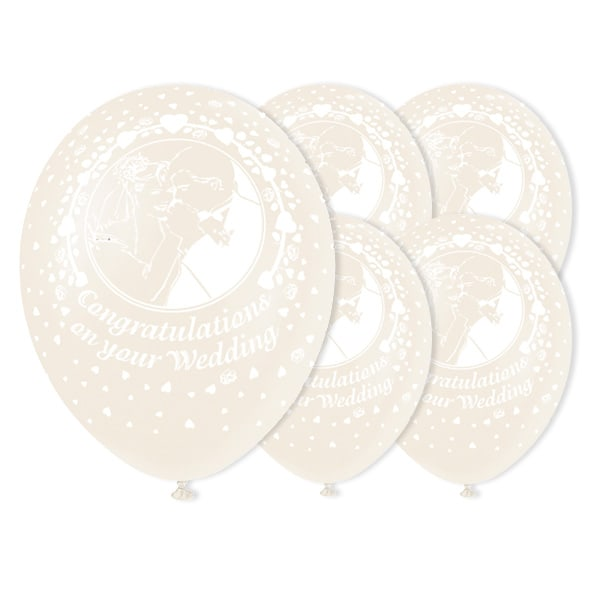 Congratulations on your Wedding in White Biodegradable Latex Balloons - 12 Inches / 30cm - Pack of 50 Product Image