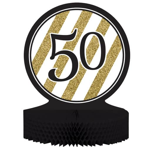 50 Black And Gold Honeycomb Centrepiece - 30cm