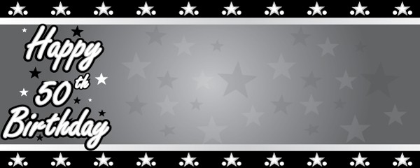 Happy 50th Birthday Faded Stars Design Small Personalised Banner- 4ft x 2ft