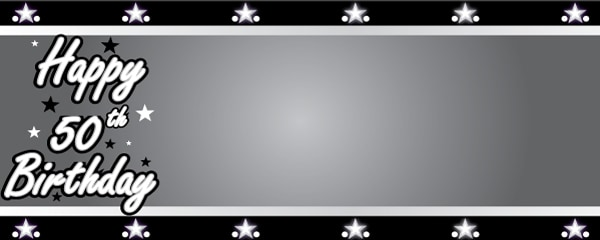 Happy 50th Birthday Silver Stars Design Small Personalised Banner - 4ft x 2ft