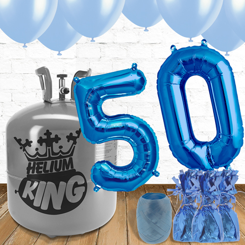 50th Birthday Helium Gas Package with Blue Balloons Product Image