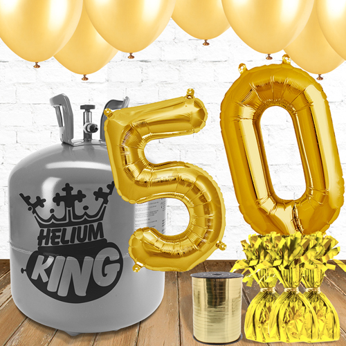 50th Birthday Helium Gas Package with Gold Balloons Product Image