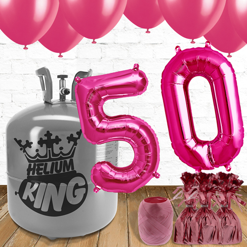 50th Birthday Helium Gas Package with Pink Balloons Product Image