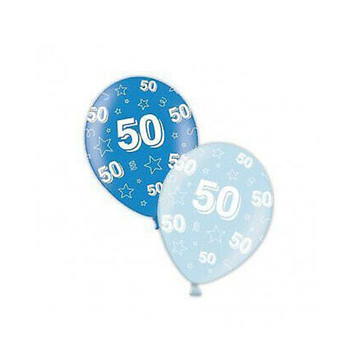 50th Birthday Blue Latex Balloons 28cm / 11 in - Pack of 25