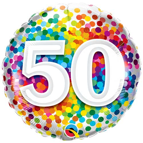 50th Birthday Rainbow Confetti Round Foil Helium Qualatex Balloon 46cm / 18 in