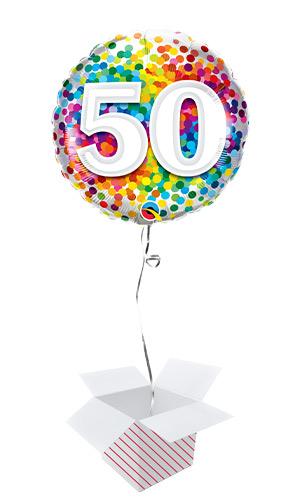 50th Birthday Rainbow Confetti Round Foil Helium Qualatex Balloon - Inflated Balloon in a Box