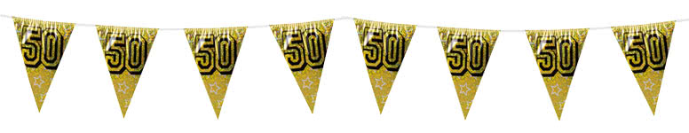 50th Gold Holographic Bunting Decoration 8m Product Image