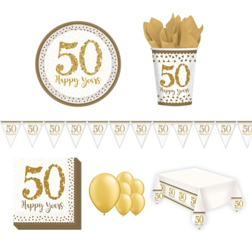 50th Golden Wedding Anniversary 8 Person Deluxe Party Pack