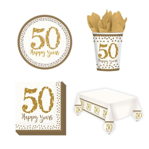50th Golden Wedding Anniversary 8 Person Value Party Pack