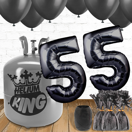 55th Birthday Helium Gas Package with Black Balloons Product Image