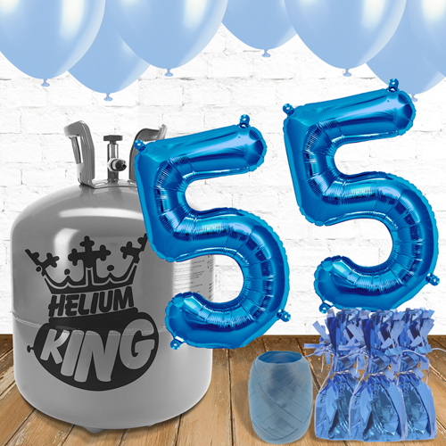 55th Birthday Helium Gas Package with Blue Balloons Product Image