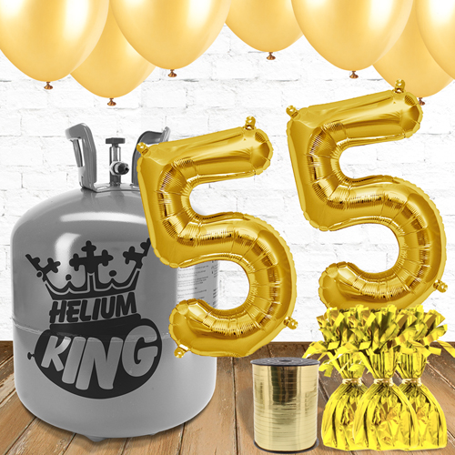 55th Birthday Helium Gas Package with Gold Balloons Product Image