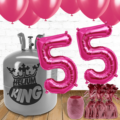 55th Birthday Helium Gas Package with Pink Balloons Product Image