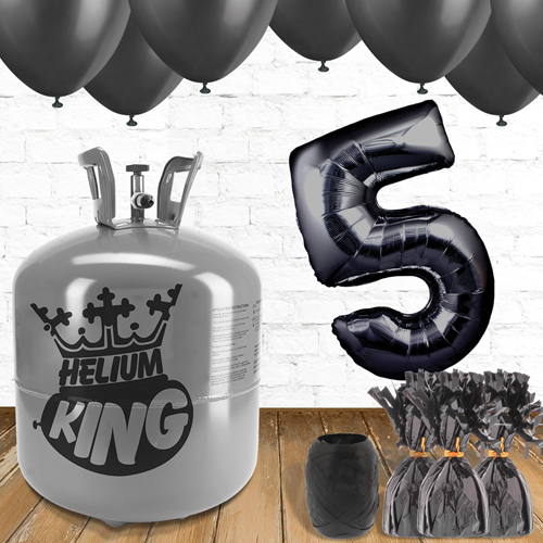 5th Birthday Helium Gas Package with Black Balloons Product Image