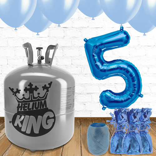 5th Birthday Helium Gas Package with Blue Balloons Product Image