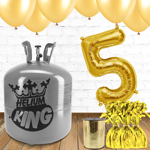 5th Birthday Helium Gas Package with Gold Balloons Product Image