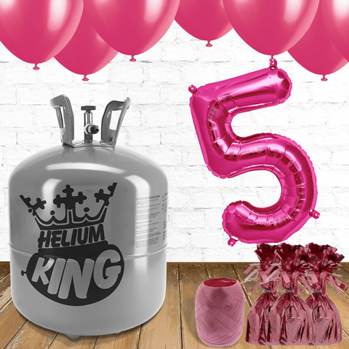 5th Birthday Helium Gas Package with Pink Balloons Product Image
