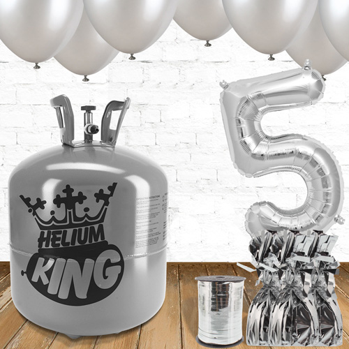 5th Birthday Helium Gas Package with Silver Balloons Product Image