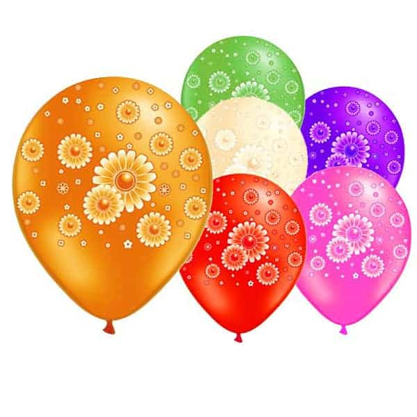Daisies Latex Balloons - 12 Inches / 30cm - Pack of 6 Product Image
