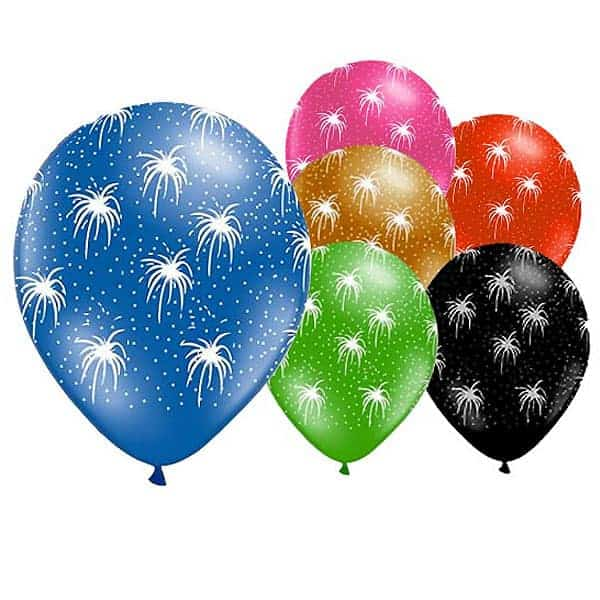Fireworks Latex Balloons - 12 Inches / 30cm - Pack of 6 Product Image